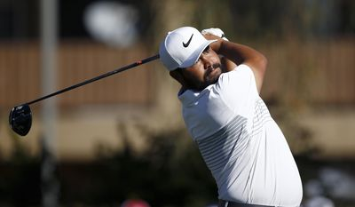 J.J. Spaun hits his tee shot at the second hole during the final round of the Waste Management Phoenix Open golf tournament Sunday, Feb. 5, 2017, in Scottsdale, Ariz. (AP Photo/Ross D. Franklin)