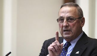 Gov. Paul LePage delivers the State of the State address to the Legislature, Tuesday, Feb. 7, 2017, at the State House in Augusta, Maine. (AP Photo/Robert F. Bukaty) ** FILE **