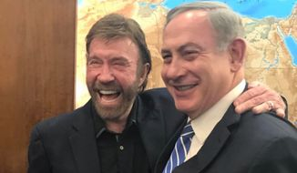 Israeli Prime Minister Benjamin Netanyahu met with Chuck Norris in Jerusalem on Wednesday, thanking the martial artist for his long-lasting support and cracking a few jokes about his famed toughness. (Instagram/@b.netanyahu)