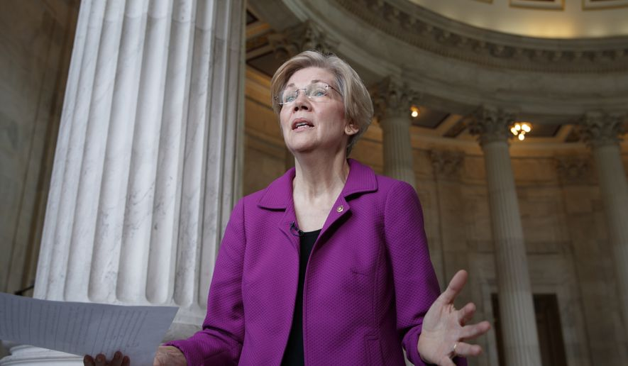 Holding a transcript of her speech in the Senate Chamber, Democratic Sen. Elizabeth Warren of Massachusetts reacts to being rebuked by the Senate leadership and accused of impugning a fellow senator, Sen. Jeff Sessions, R-Ala., the attorney general nominee, on Capitol Hill in Washington, Wednesday, Feb. 8, 2017. Warren was barred from saying anything more on the Senate floor about Sessions after she quoted from an old letter from Martin Luther King Jr.'s widow about Sessions. (AP Photo/J. Scott Applewhite)