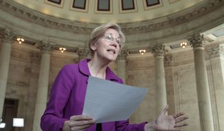 Sen. Elizabeth Warren, D-Mass. reacts to being rebuked by the Senate leadership and accused of impugning a fellow senator, Attorney General-designate, Sen. Jeff Sessions, R-Ala., Wednesday, Feb. 8, 2017, on Capitol Hill in Washington Warren was barred from saying anything more on the Senate floor about Sessions after she quoted from an old letter from Martin Luther King Jr.'s widow about Sessions. (AP Photo/J. Scott Applewhite)