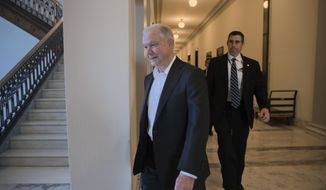 Attorney General-designate, Sen. Jeff Sessions, R-Ala., leaves his office on Capitol Hill in Washington early Wednesday, Feb. 8, 2017. The Alabama Republican appears headed toward confirmation by a nearly party-line vote after Democrats harshly criticized him for being too close to Trump, too harsh on immigrants, and too weak on civil rights. (AP Photo/J. Scott Applewhite)