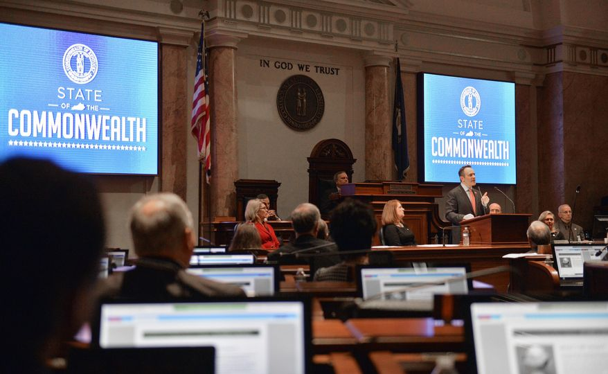 Kentucky Governor Matt Bevin speaks to a joint session of the Kentucky legislature during the State of the Commonwealth address, Wednesday, Feb. 8, 2017, in Frankfort, Ky. (AP Photo/Timothy D. Easley)
