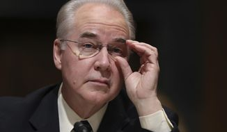 FILE - In this Jan. 24, 2017 file photo, Health and Human Services Secretary-designate, Rep. Tom Price, R-Ga. pauses while testifying on Capitol Hill in Washington at his confirmation hearing before the Senate Finance Committee. The Trump administration and congressional Republicans are considering a series of actions to stabilize health insurance markets for some 18 million people who buy their own policies.  (AP Photo/Andrew Harnik, File)