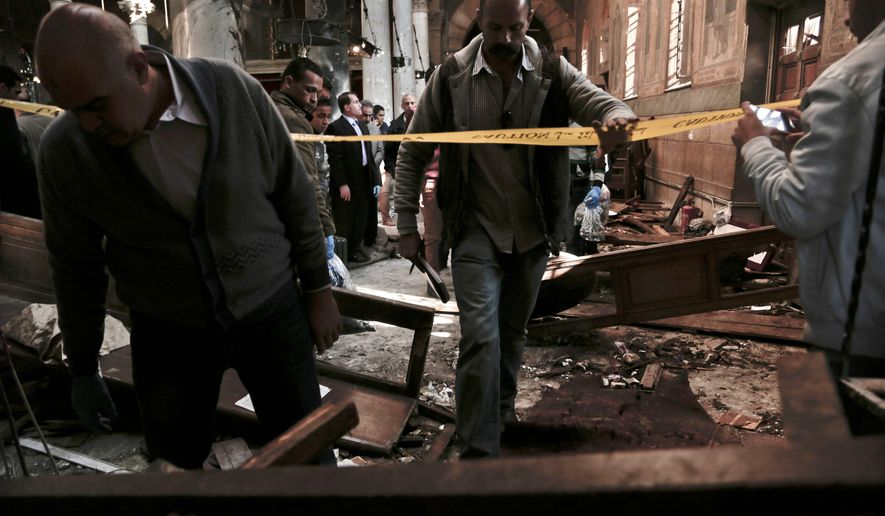 Dozens of Coptic Christians were killed in a December bombing at St. Mark Cathedral in central Cairo. Each month, about 322 Christians are killed, 214 churches or Christian properties are destroyed, and 772 acts of violence are carried out on Christians because of their faith, advocates say. (Associated Press)