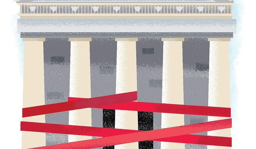 Illustration on the results of Congressional overcomplexity on tax reform by Linas Garsys/The Washington Times