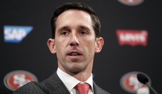 San Francisco 49ers head coach Kyle Shanahan answers questions during an NFL football press conference Thursday, Feb. 9, 2017, in Santa Clara, Calif. (AP Photo/Marcio Jose Sanchez)