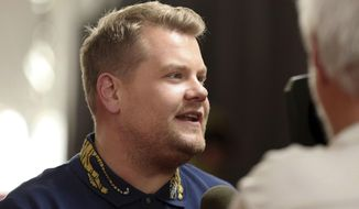 Host James Corden answers questions from the media after rolling out the red carpet for the 59th Annual Grammy Awards on Thursday, Feb. 9, 2017 in Los Angeles. The Grammy Awards will take place on Sunday, Feb. 12. (Photo by Matt Sayles/Invision/AP)