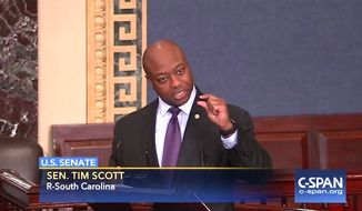 U.S. Sen. Tim Scott, R-S.C., speaks on the Senator floor on Wednesday, Feb. 9, 2017. (C-SPAN)