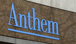 FILE - This Dec. 3, 2014, file photo, shows the Anthem logo at the company's corporate headquarters in Indianapolis. A federal judge on Wednesday, Feb. 8, 2017, rejected Anthem Inc.'s bid to buy rival health insurer Cigna Corp., saying the merger would likely lead to higher costs, less competition and diminished innovation. U.S. District Judge Amy Berman Jackson said the merger would significantly reduce competition in the already concentrated insurance market, particularly for large national employers. (AP Photo/Darron Cummings, File)