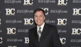 FILE - In this Oct. 20, 2014, file photo, co-host Bob Costas attends the 24th Annual Broadcasting and Cable Hall of Fame Awards at the Waldorf-Astoria in New York. Costas is stepping down as NBC's prime-time host for the Olympics, to be replaced by Mike Tirico next winter in South Korea, the network said Thursday, Feb. 9, 2017. (Photo by Evan Agostini/Invision/AP, File)