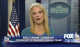 "This frame grab from video provided by Fox News shows White House adviser Kellyanne during her interview with Fox News Fox and Friends, Thursday, Feb. 9, 2017, in the briefing room of the White House in Washington. Conway defended Ivanka Trump's fashion company, telling Fox News that Trump is a ""successful businesswoman"" and people should give the company their business. (Fox News via AP)"