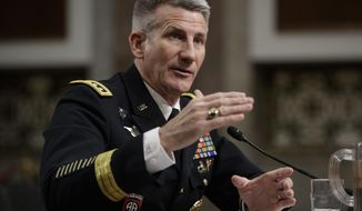 """Gen. John Nicholson, the top U.S. commander in Afghanistan, testifies on Capitol Hill in Washington, Thursday, Feb. 9, 2017, before the Senate Armed Services Senate Committee. Nicholson said he needs a """"few thousand"""" more troops to better accomplish a key part of the mission in the war-torn country.  (AP Photo/J. Scott Applewhite)"""