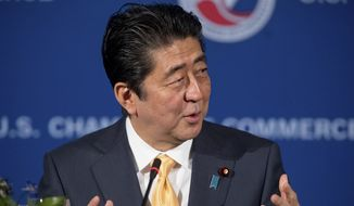 Japanese Prime Minister Shinzo Abe speaks at a business roundtable at the U.S. Chamber of Commerce in Washington, Friday, Feb. 10, 2017. (AP Photo/Andrew Harnik)