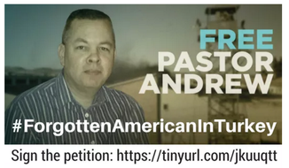 Social media banner for the petition drive to raise awareness of the imprisonment of pastor Andrew Brunson.