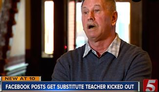 """Rutherford County Schools in Tennessee has banned substitute teacher David Colin from overseeing classrooms after social media posts attributed to him claimed """"the only good trump [sic] supporter is a dead trump [sic] supporter."""" (WTVF-5 CBS Nashville screenshot)"""