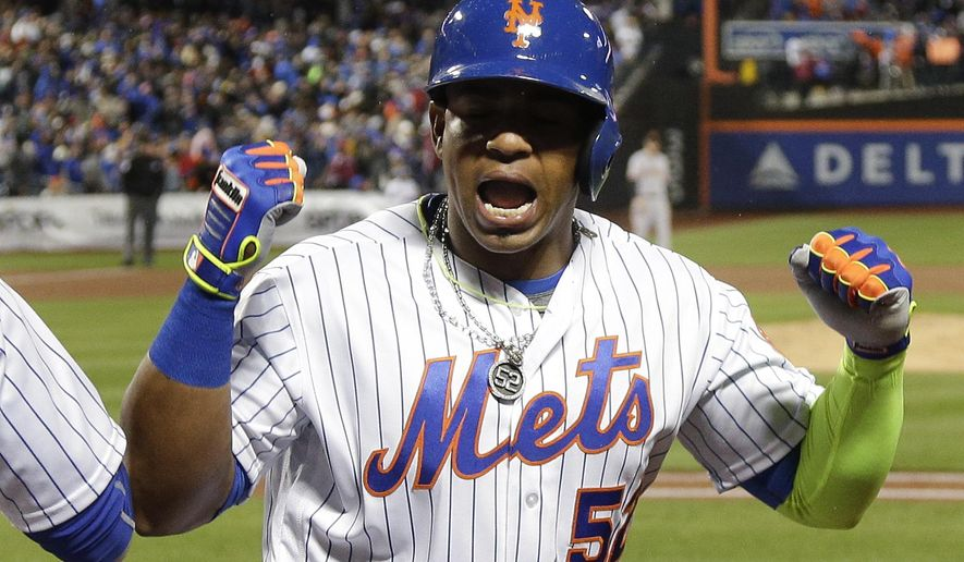 FILE - In this April 29, 2016, file photo, New York Mets' Yoenis Cespedes reacts after hitting a grand slam home run against the San Francisco Giants during the third inning of a baseball game, in New York. With slugger Yoenis Cespedes re-signed for $110 million to anchor the lineup again, they simply figure better luck _ and less time on the disabled list _ should put them back in pennant contention. (AP Photo/Julie Jacobson, File)