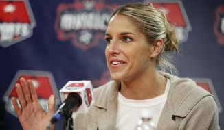 Elena Delle Donne speaks during a news conference in Washington, Friday, Feb. 10, 2017. Delle Donne was acquired by the Washington Mystics from the Chicago Sky this month in one of the biggest trades in the WNBA's history. (AP Photo/Manuel Balce Ceneta) ** FILE **