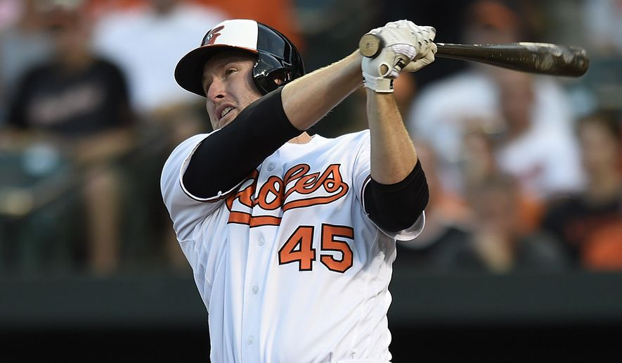 FILE - In this Aug. 18, 2016, file photo, Baltimore Orioles' Mark Trumbo follows through on a three-run home run against the Houston Astros during a baseball game in Baltimore. Dan Duquette, the Orioles executive vice president of baseball operations, has retained free agent slugger Trumbo as part of a power-laden lineup that led the majors in home runs. (AP Photo/Gail Burton, File)