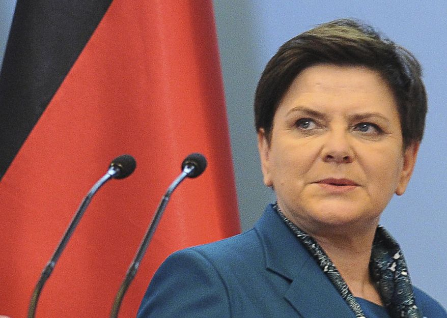In this Tuesday Feb. 7, 2017 photo, Polish Prime Minister Beata Szydlo arrives at a press conference. Szydlo was in a car wreck on Friday that involved a young driver in a Fiat 500 hitting her car from the side and was being checked out in a hospital, officials and news reports said, adding she was not badly hurt. (AP Photo/Alik Keplicz )