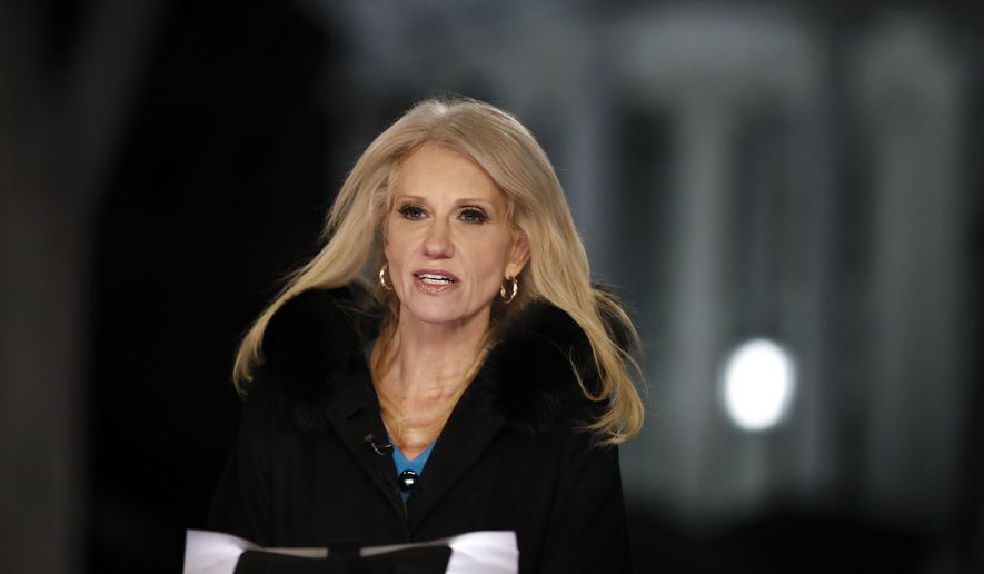 Counselor to President Donald Trump Kellyanne Conway speaks during a television interview with the White House in the background, in Washington, Thursday, Feb. 9, 2017, about the Federal appeals court refusal to reinstate President Donald Trump's travel ban. (AP Photo/Carolyn Kaster)