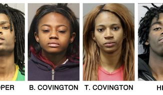 FILE - In these undated file booking photos provided by the Chicago Police Department show, from left, Tesfaye Cooper, Brittany Covington, Tanishia Covington and Jordan Hill. The four are charged, with aggravated kidnapping and taking part in a hate crime after allegedly beating and taunting a white mentally disabled man that was captured by a cellphone camera and shown live on Facebook. They are scheduled to return to court Friday, Feb. 10, 2017 where they're expected to enter pleas in the case. (Chicago Police Department via AP File)