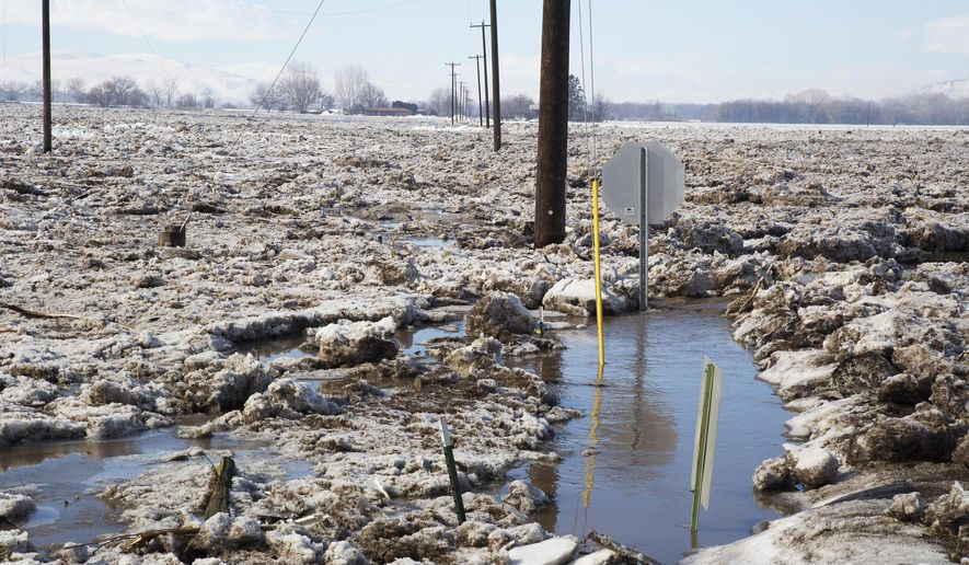 The Weiser River in Weiser, Idaho, overflowed early Friday, Feb. 10, 2017, flooding areas south of the river near Cove and Couper roads with ice and water.(Darin Oswald /Idaho Statesman via AP)