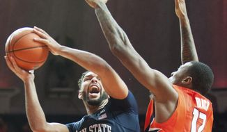 Penn State's forward Payton Banks (0) tries to shoot past Illinois' forward Leron Black (12) during the second half of an NCAA college basketball game in Champaign, Ill., Saturday, Feb 11, 2017. Penn State won 83-70. (AP Photo/Robin Scholz)