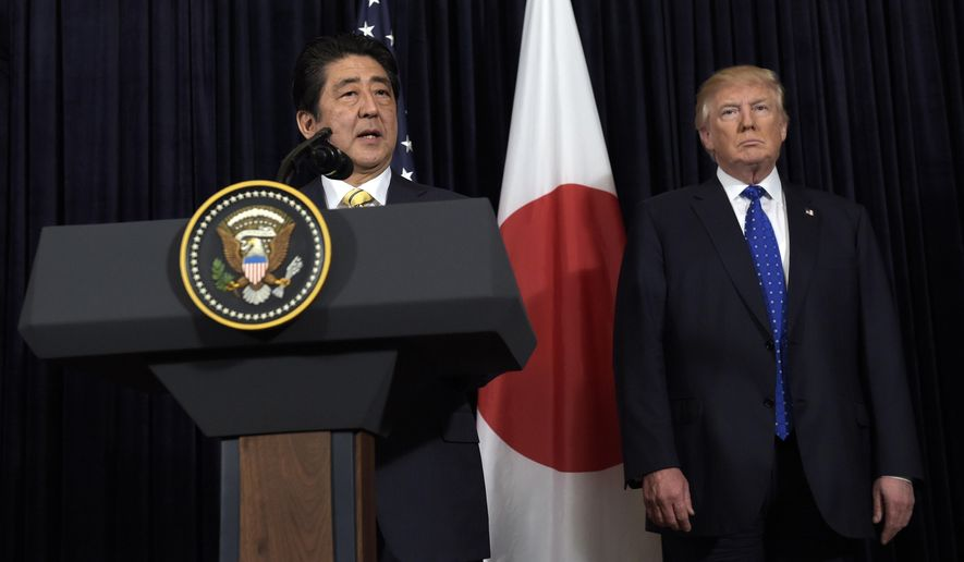 President Donald Trump and Japanese Prime Minister Shinzo Abe make statements about North Korea at Mar-a-Lago in Palm Beach, Fla., Saturday, Feb. 11, 2017. (AP Photo/Susan Walsh)