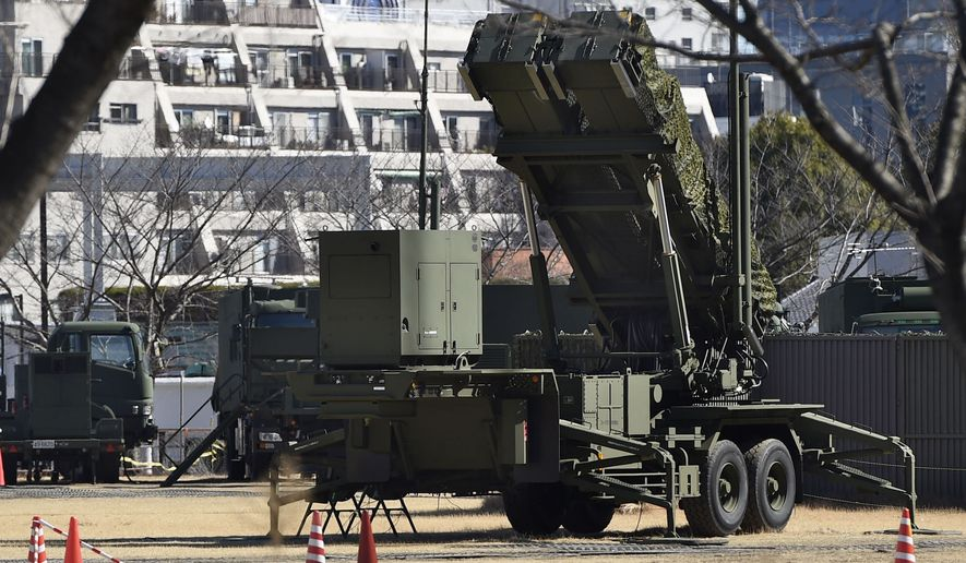 A PAC-3 Patriot missile unit is deployed by the Japan Self-Defense Force against the North Korea's rocket launch at the Defense Ministry in Tokyo, Sunday, Feb. 12, 2017. North Korea reportedly fired a ballistic missile early Sunday in what would be its first such test of the year and an implicit challenge to U.S, President Donald Trump, who was hosting Japanese Prime Minister Shinzo in Florida. Details of the launch, including the type of missile, were scant. (Takuto Kaneko/Kyodo News via AP)