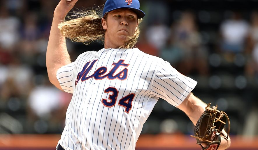 FILE - In this Aug. 11, 2016, file photo, New York Mets pitcher Noah Syndergaard works against the Arizona Diamondbacks in the first inning of a baseball game in New York. In a clubhouse that featured a rotation that ranked among the most oft-injured last year, Syndergaard stood out and was the Last Pitcher Standing as the long season unfolded. (AP Photo/Kathy Kmonicek, File)