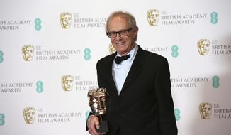 Director Ken Loach holds the BAFTA award for Outstanding British Film for 'I, Daniel Blake' at the British Academy Film Awards in London, Sunday, Feb. 12, 2017. (Photo by Joel Ryan/Invision/AP)