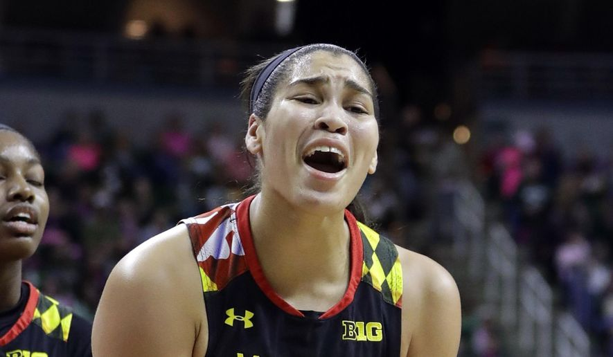 Maryland center Brionna Jones reacts after being called for a foul during the first half of an NCAA college basketball game against Michigan State, Sunday, Feb. 12, 2017, in East Lansing, Mich. (AP Photo/Carlos Osorio)