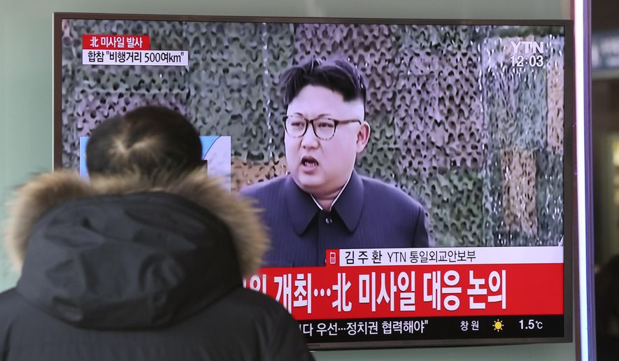 "A man watches a TV news program showing a file footage of North Korean leader Kim Jong Un with letters reading: ""The North fired a missile"" at the Seoul Train Station in Seoul, South Korea, Sunday, Feb. 12, 2017. North Korea reportedly fired a ballistic missile early Sunday in what would be its first such test of the year and an implicit challenge to President Donald Trump's new administration. Details of the launch, including the type of missile, were scant. (AP Photo/Lee Jin-man)"