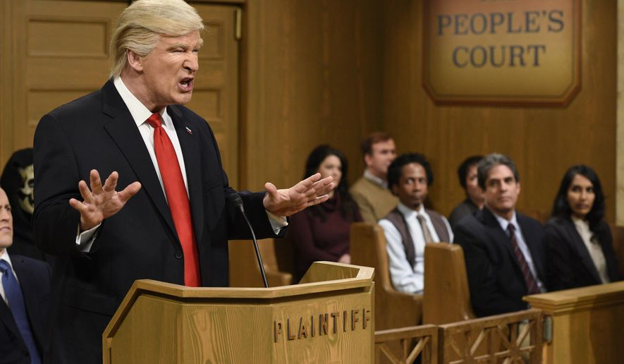 "This Saturday, Feb. 11, 2017, image released by NBC shows host Alec Baldwin as President Donald Trump during the ""Trump People's Court"" in New York. In his spoof, President Trump made good on a tweeted vow to ""see you in court"" directed at the three Ninth Circuit federal judges who refused to lift a stay preventing his immigration ban from being enforced. His chosen venue: ""The People's Court,"" where he was suing the three judges. (Will Heath/NBC via AP)"