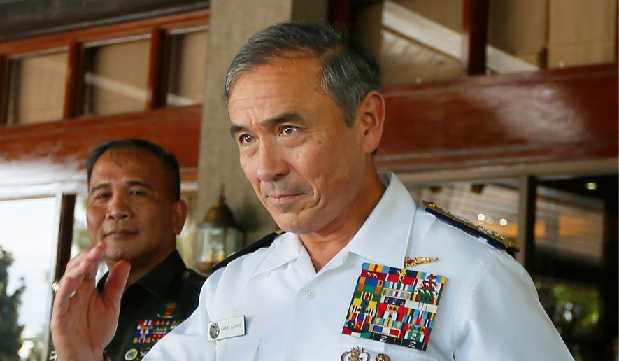 Adm. Harry B. Harris, the head of U.S. Pacific Command, will be the highest-ranking U.S. officer to visit Thailand since a 2014 military coup. (Associated Press)