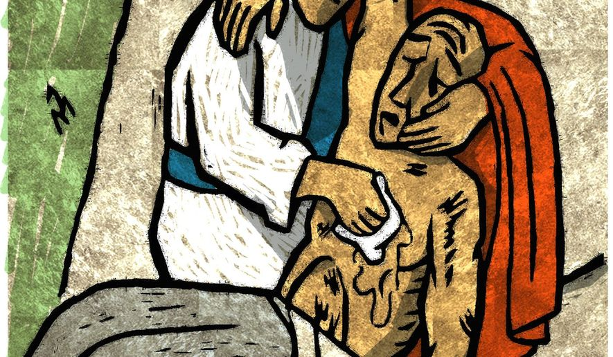 Illustration of the good Samaritan by Alexander Hunter (after a traditional mosaic)/ The Washington Times