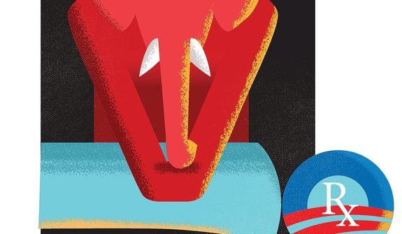 Illustration on republicans options with Obamacare by Linas Garsys/The Washington Times