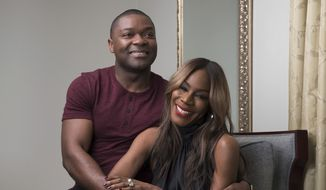 """This Feb. 5, 2017 photo shows producer-actor David Oyelowo, left, and director Amma Asante in New York to promote their film, """"A United Kingdom.""""  (Photo by Amy Sussman/Invision/AP)"""