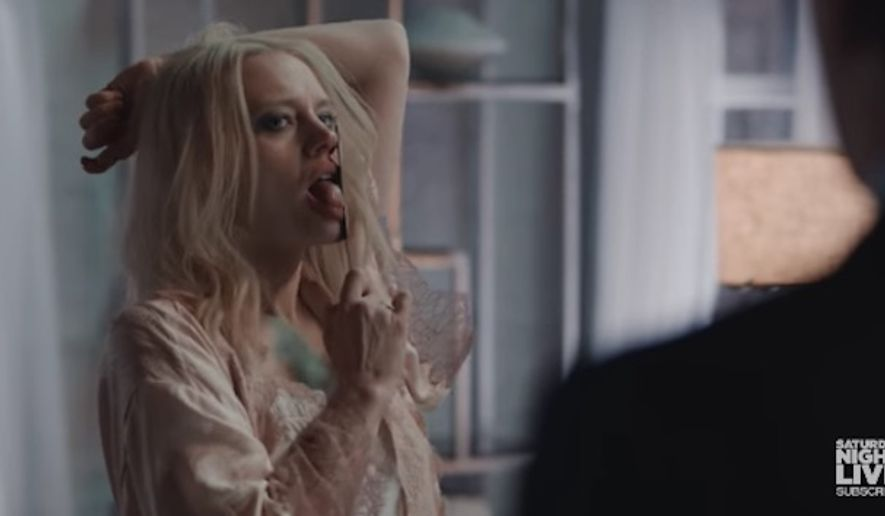 """A """"Saturday Night Live"""" sketch in which comedian Kate McKinnon portrayed President Trump counselor Kellyanne Conway in a """"Fatal Attraction"""" parody is being ripped as sexist. (SNL)"""