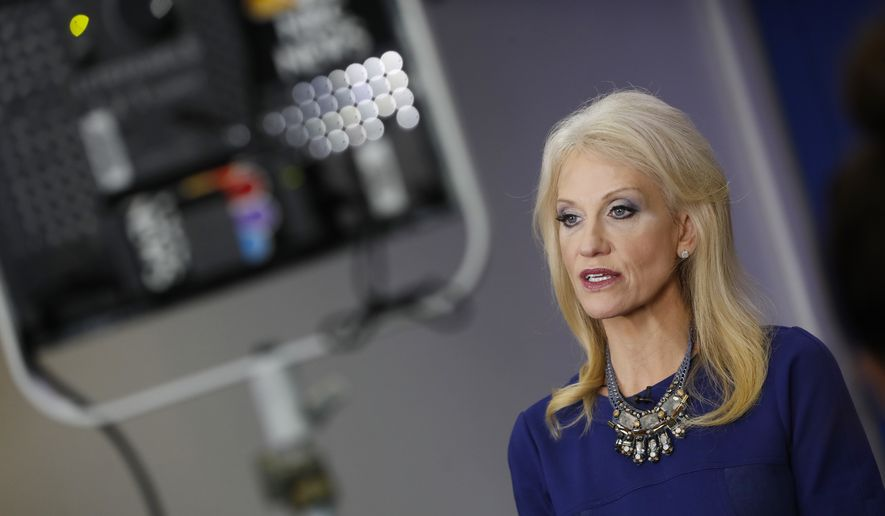 Counselor to the President Kellyanne Conway answers questions during a network television interview in the James Brady Press Briefing Room of the White House in Washington, Monday, Feb. 13, 2017. (AP Photo/Pablo Martinez Monsivais)