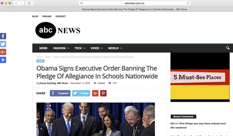"""This Feb. 6, 2017, screen shot shows a website that falsely implies that it is from ABC News. The site is actually an imposter pedaling stories that aren't true and is an example North Carolina teacher Bill Ferriter gives to his students when teaching them to question whether a story could possibly be true and to look at web addresses and authors for hints that stories might be bogus. A """".co"""" at the end of an impostor news site web address should have been a red flag, Ferriter said. (AP Photo)"""
