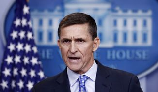 National Security Adviser Michael Flynn speaks during the daily news briefing at the White House, in Washington, in this Feb. 1, 2017, file photo. Flynn resigned as President Donald Trump's national security adviser Monday, Feb. 13, 2017. (AP Photo/Carolyn Kaster, File)