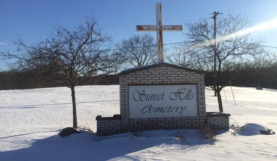 Sunset Hills Cemetery in Superior Township, Mich., is shown Monday, Feb. 13, 2017. Diane Brown and Rebecca Thomas are searching for their brother, Isaac Dixon, who they say was buried at Sunset Hills Cemetery in 2001. The cemetery has no record of him there. ( John CountsThe Ann Arbor News via AP)