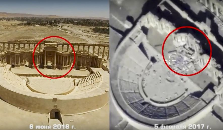 This photo combo, made from footage taken from the Russian Defense Ministry official website, purports to show the Roman-era amphitheater on June 6, 2016, left, and on Feb. 5, 2017, right, in Palmyra, Syria. Russia's defense ministry has released drone footage showing new destruction in Syria's historic town of Palmyra, which was recently recaptured by the Islamic State group, and warned that the militants could be planning the further demolition of antiquities. The video shows that the militants have badly damaged the facade of the amphitheater. (Russian Defense Ministry Press Service, via AP)