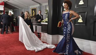"Joy Villa wears a gown that says ""Make America Great Again"" at the 59th annual Grammy Awards at the Staples Center on Sunday, Feb. 12, 2017, in Los Angeles. (Photo by Jordan Strauss/Invision/AP)"