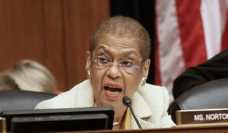 As the District's nonvoting member of Congress, Del. Eleanor Holmes Norton can propose legislation but not vote on it, which she is pressing to change. (Associated Press) **FILE**