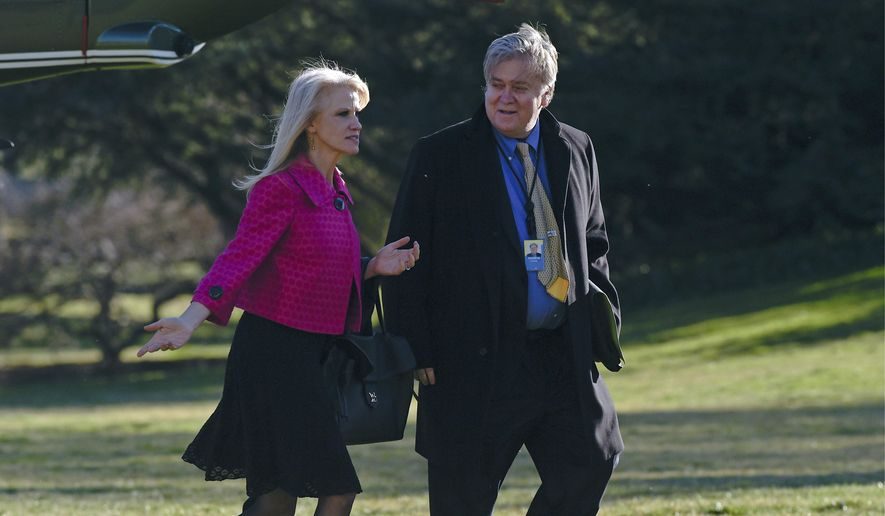 The media is systematically attacking President Trump's White House staffers, such as Kellyanne Conway and Stephen K. Bannon. (Associated Press)