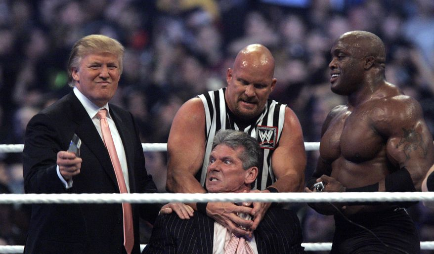 """WWE Chairman Vince McMahon, center, held by """"Stone Cold"""" Steve Austin, prepares to have his hair cut off by Donald Trump, left, and Bobby Lashley, right, after Lashley defeated Umaga at Wrestlemania 23 at Ford Field in Detroit, Sunday, April 1, 2007. (AP Photo/Carlos Osorio)"""