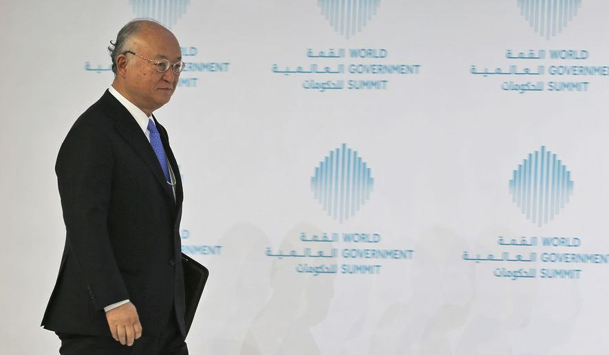 Director General of the International Atomic Energy Agency, IAEA, Yukiya Amano arrives for a panel discussion during the last day of the World Government Summit, in Dubai, United Arab Emirates, Tuesday, Feb. 14, 2017. The head of the United Nations' atomic agency said the administration of U.S. President Donald Trump has yet to be in touch with him or others about their criticism of the Iran nuclear deal. (AP Photo/Kamran Jebreili)